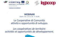 """Webinar """"Le Cooperative di Comunità: attività e opportunità di sviluppo"""" 23 Novembre ore 10,00"""
