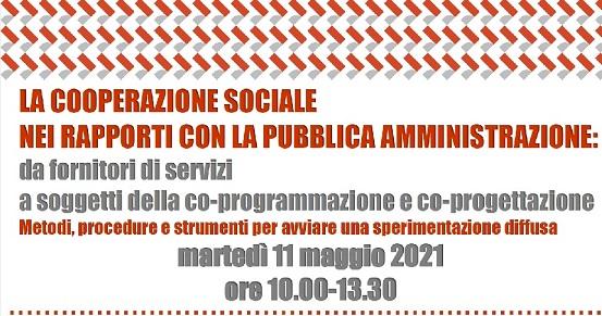 """Evento online """"La Cooperazione sociale nei rapporti con la Pubblica Amministrazione"""", 11 maggio"""